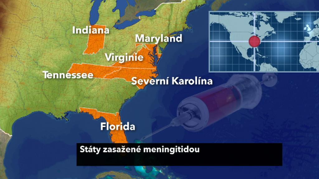 Státy zasažené meningitidou