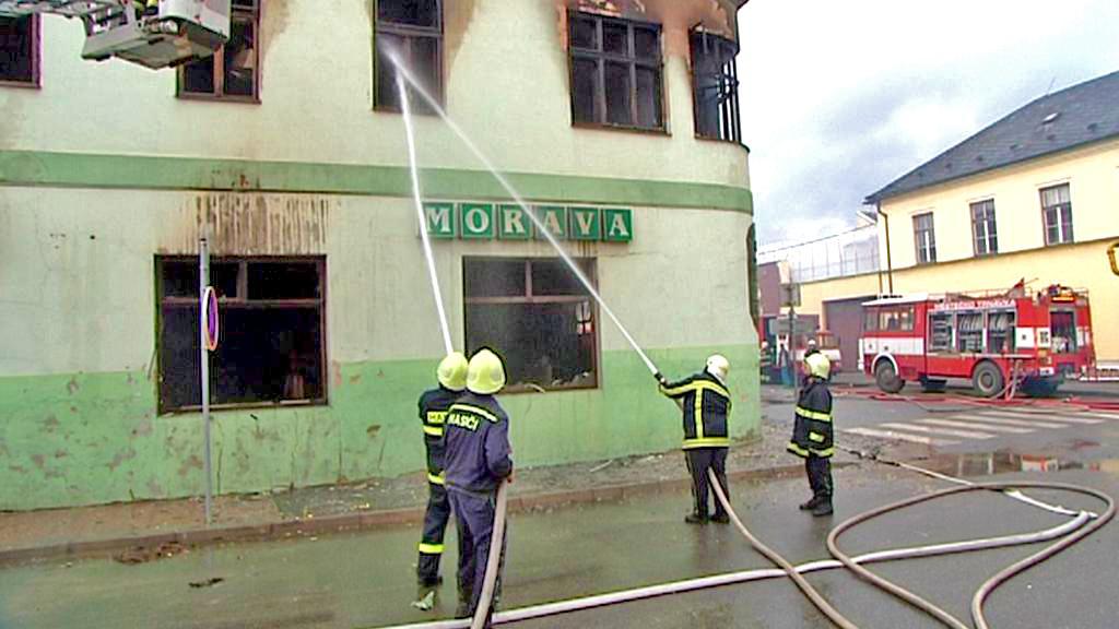 Požár hotelu Morava