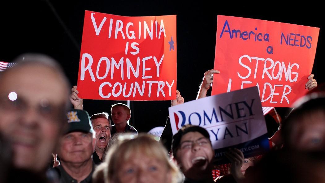 Republikánští příznivci ve Fishervillu ve Virginii den po prezidentské debatě