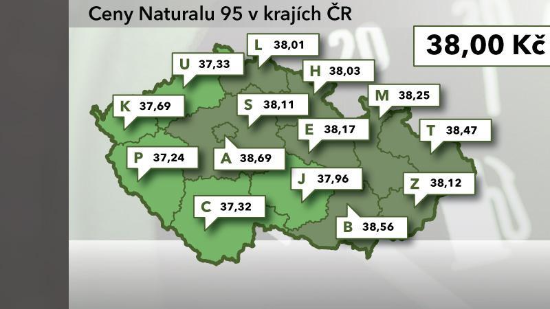 Ceny Naturalu 95 v ČR ke 4. říjnu 2012
