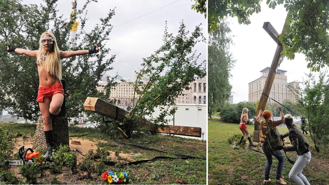 Ukrajinky z hnutí Femen podřízly kříž