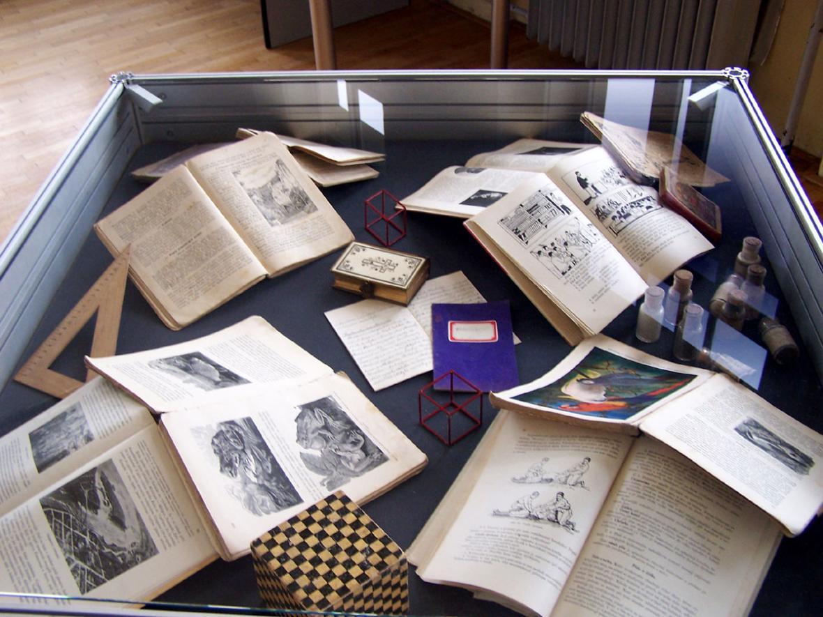 Březina - vystavené knihy