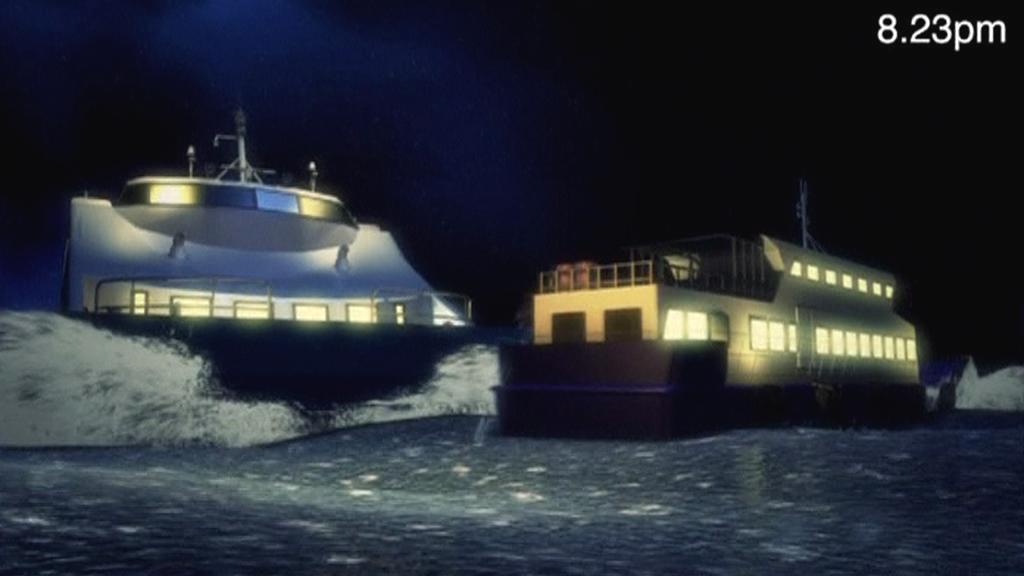 Animace srážky lodí