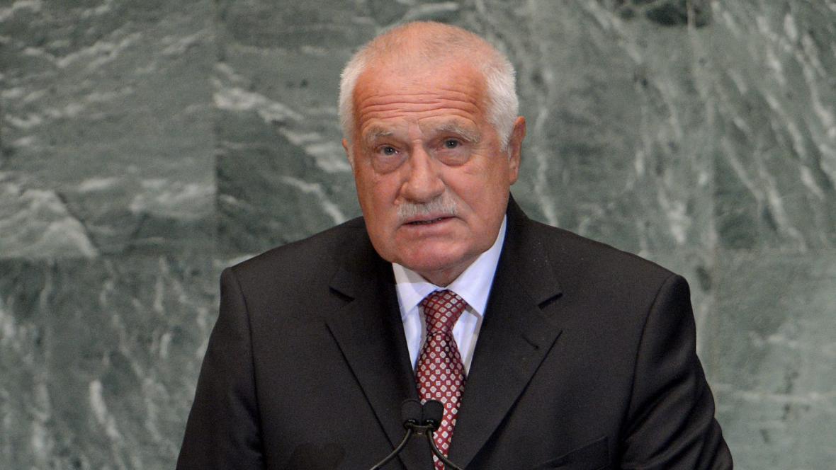 Václav Klaus během projevu před Valným shromážděním OSN v New Yorku