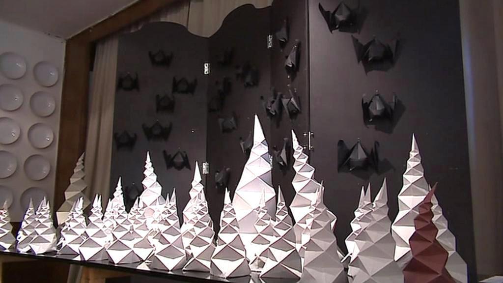 Origami - krápníková jeskyně s netopýry