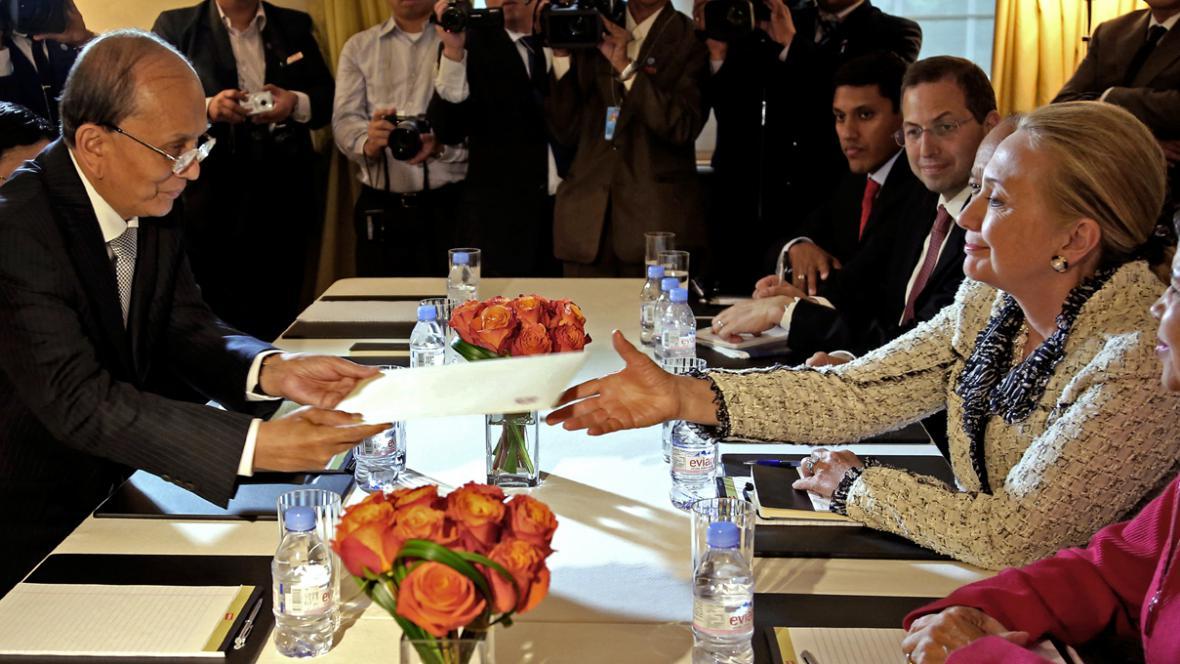 Thein Sein a Hillary Clintonová