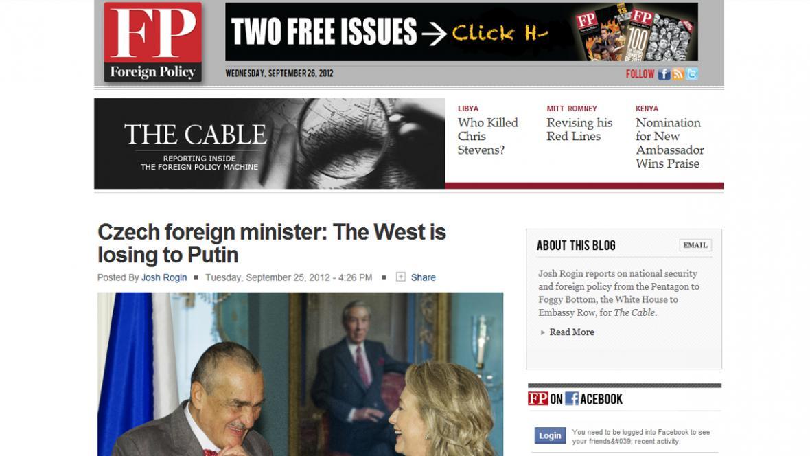 Karel Schwarzenberg v blogu The Cable