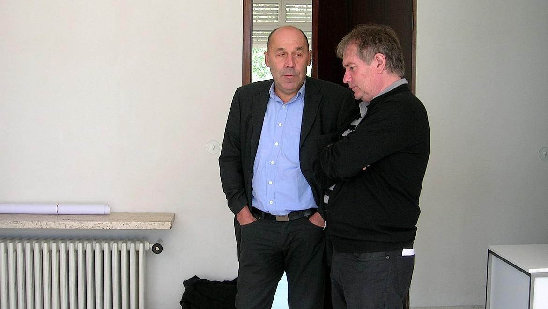 Režisér Rudolf Chudoba (vpravo) ve vile Tugendhat