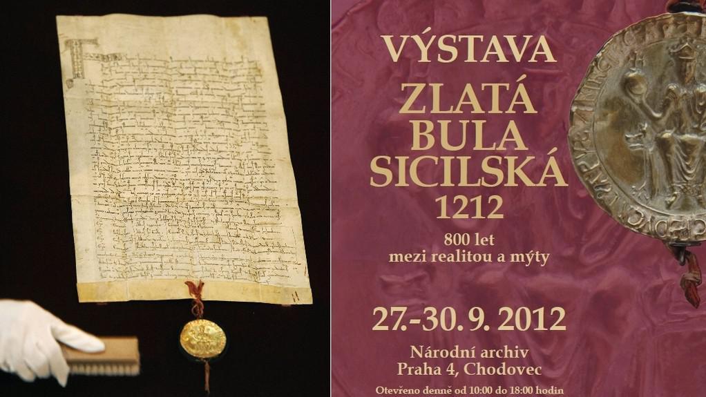 Originál Zlaté buly sicilské (vlevo) a plakát k výstavě