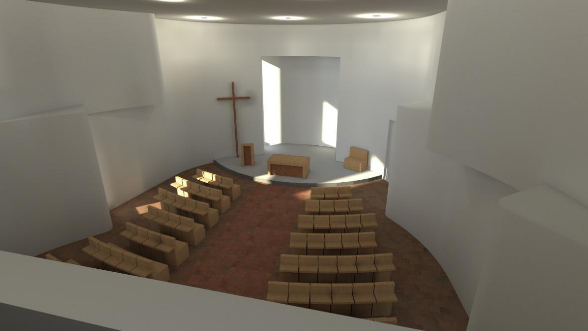 Interiér kaple v Bukovanech