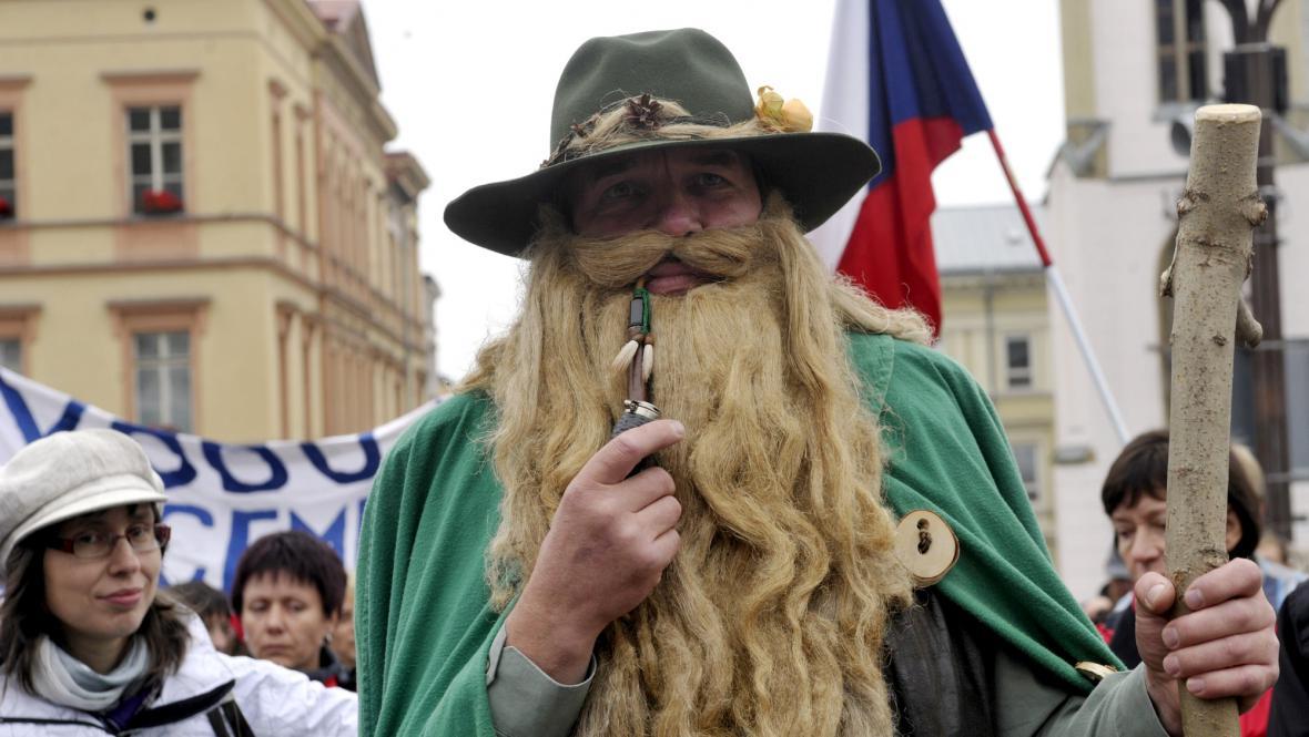 Proti břidlicovému plynu protestoval i Krakonoš