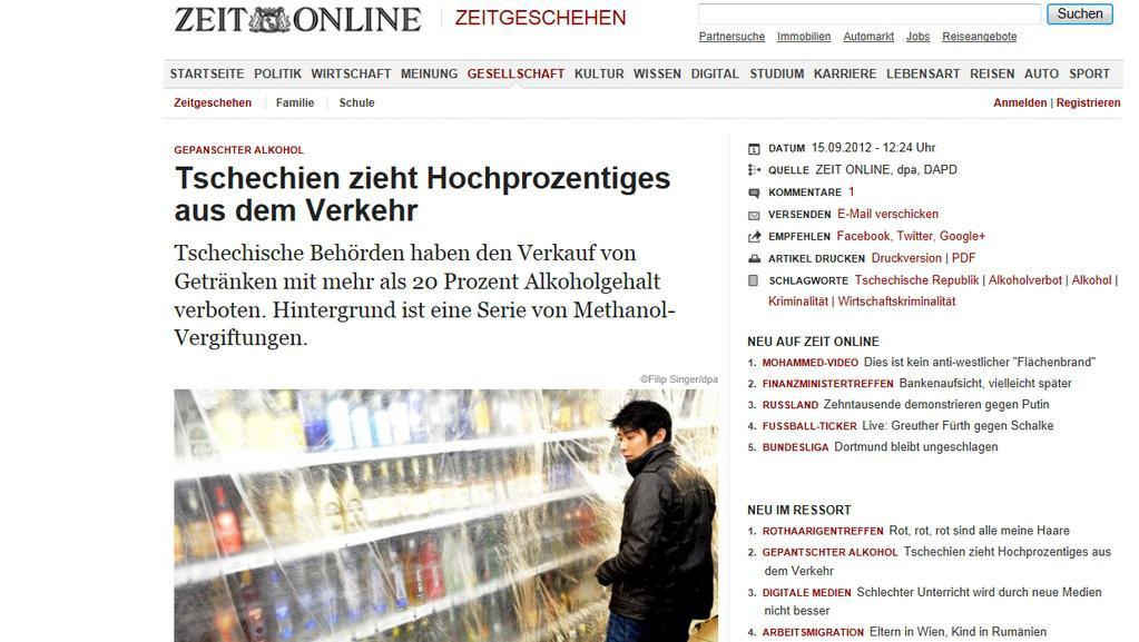 Německý Die Zeit informuje o prohibici v Česku