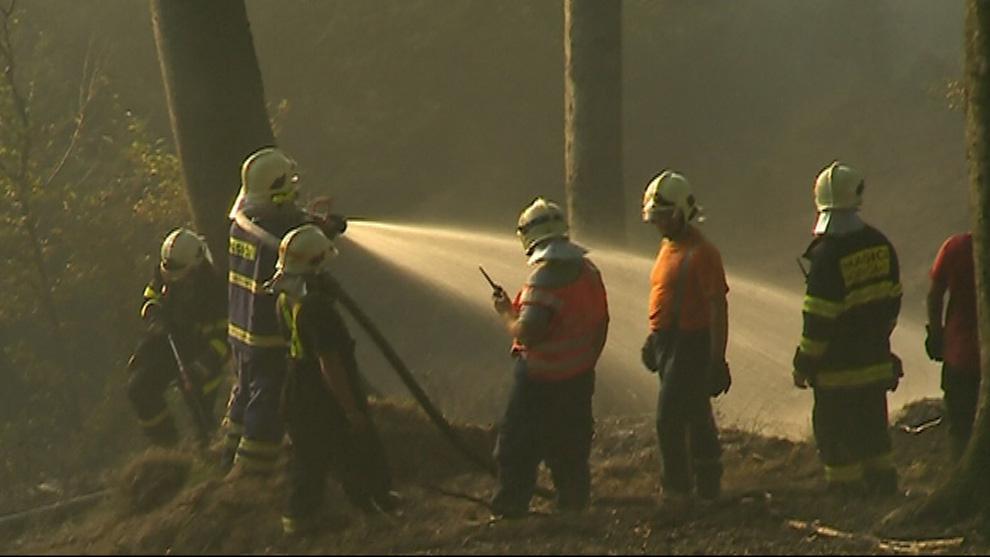 Hasiči likvidují požár lesa