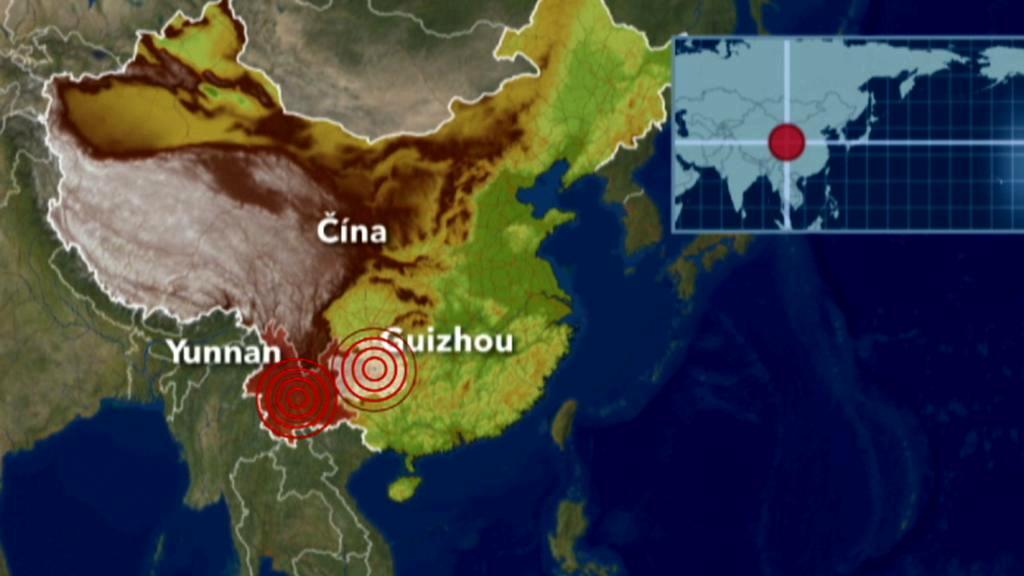 Čínskou provincii Jün-nan postihlo zemětřesení