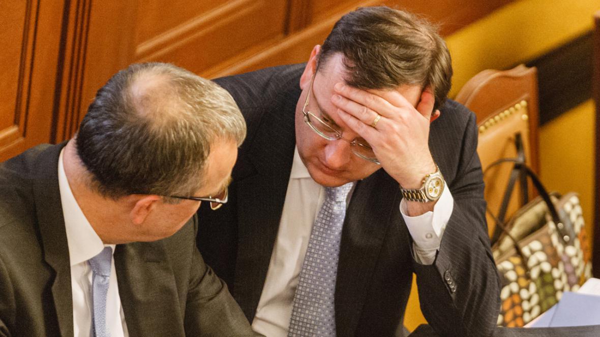 Premiér Petr Nečas a ministr financí Miroslav Kalousek