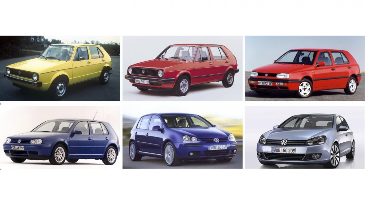 Předchozích šest generací modelu VW Golf