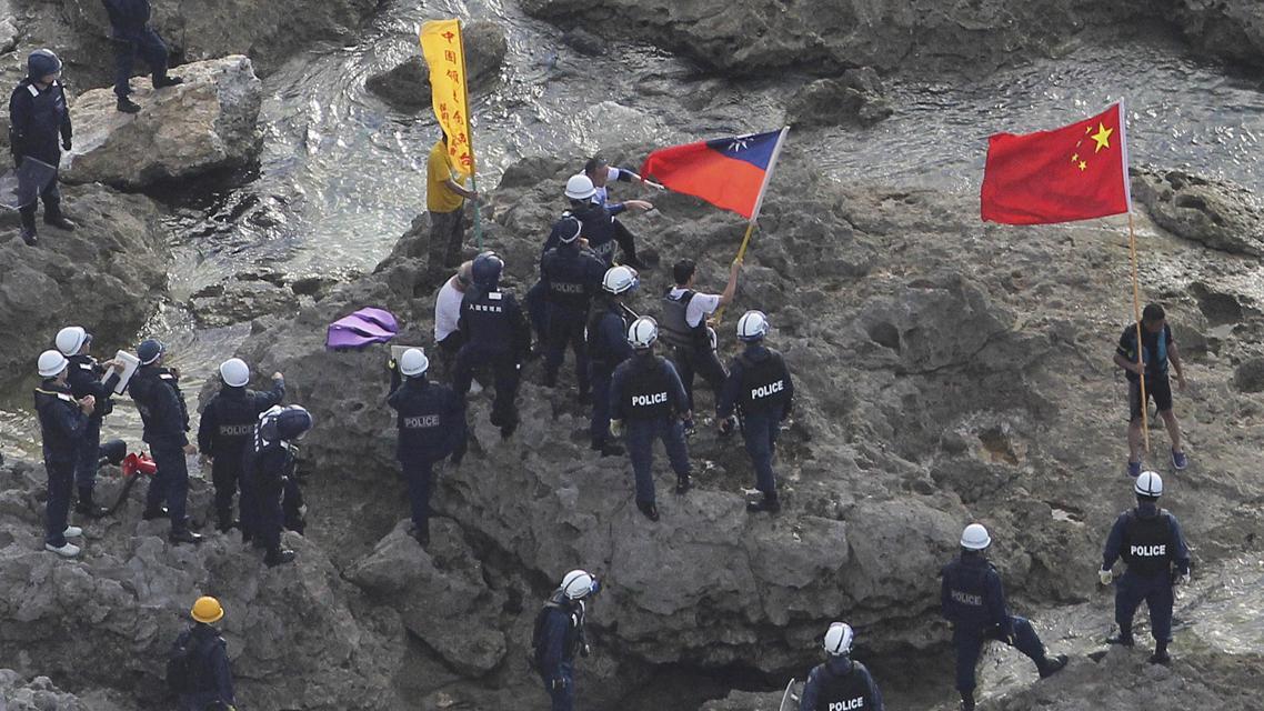 Protest čínských aktivistů na ostrovech Senkaku (Tiao-jü-tchaj
