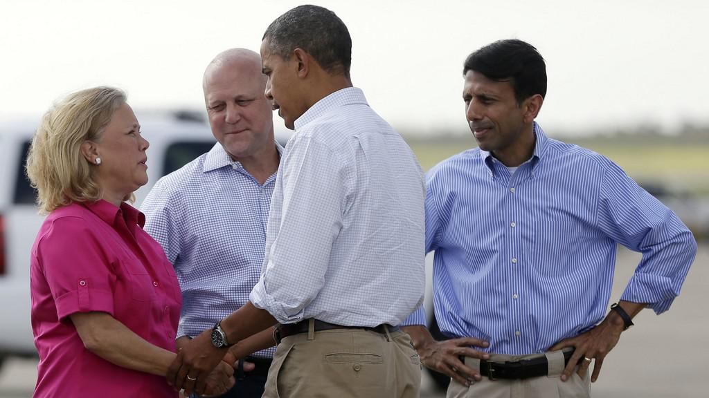 Barack Obama těsně po příletu do New Orleansu