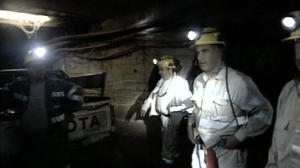 Italští horníci blokující důl na Sardinii