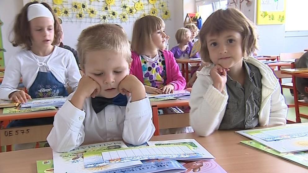 Prvňáčci v nové žebětínské škole