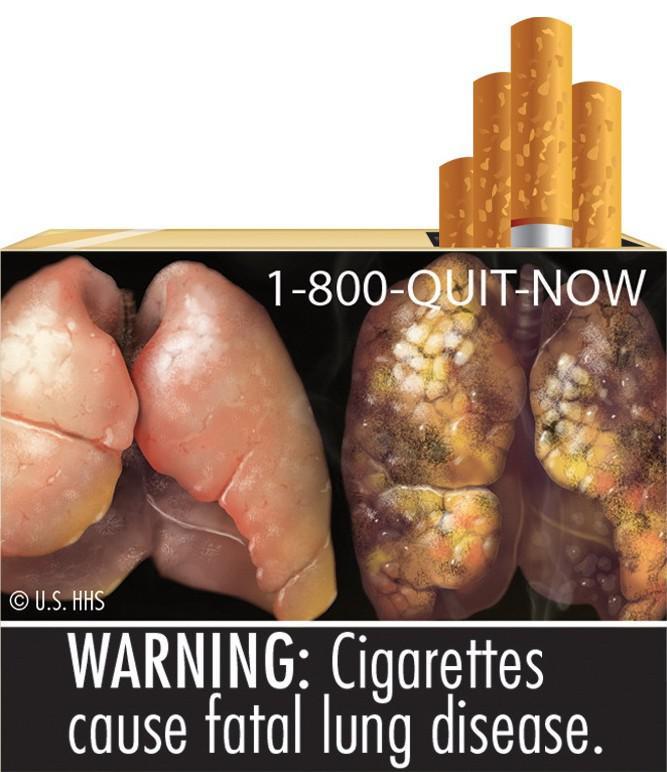 Fotografie kouřením poškozených plic na krabičce s cigaretami