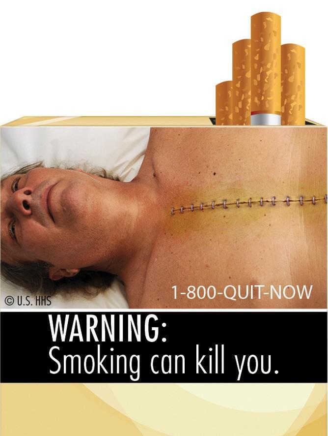 Varování před škodlivostí kouření na krabičce cigaret
