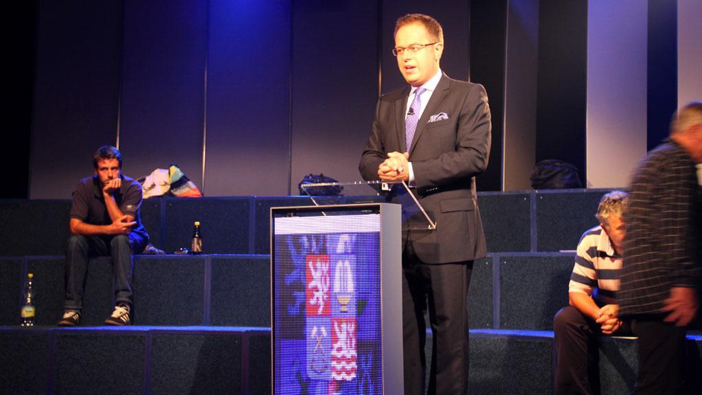 Václav Moravec na zkoušce volebního studia
