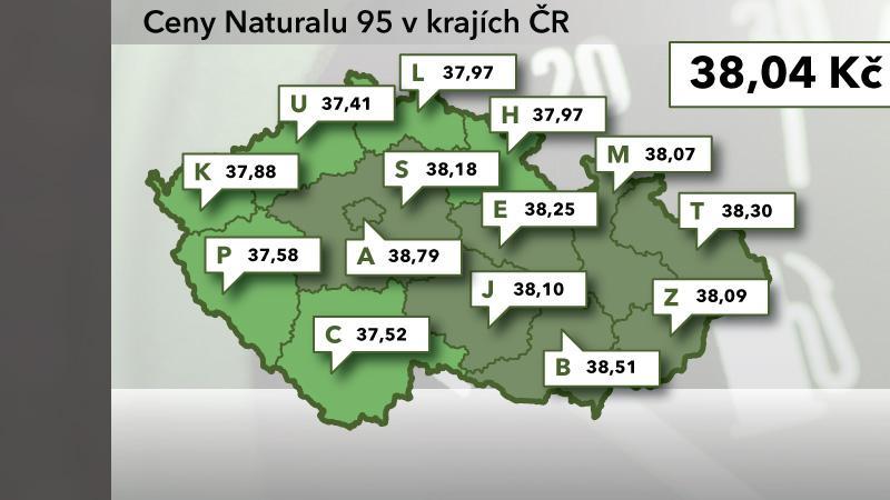 Cena Naturalu 95 v ČR ke 22. srpnu 2012