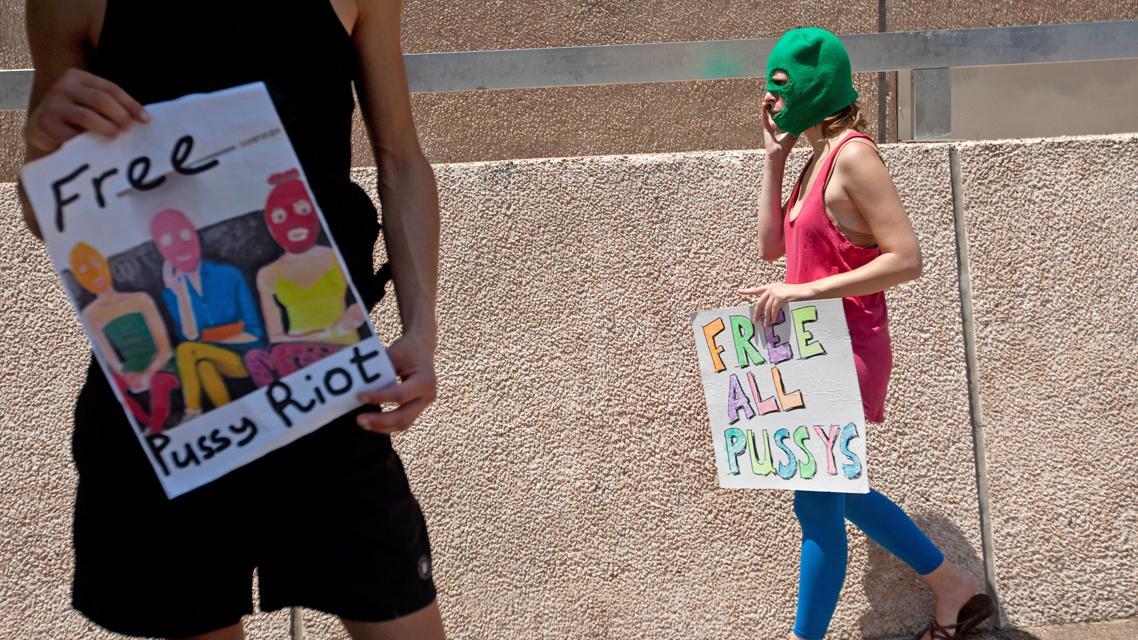 Demonstrace na podporu Pussy Riot před ruským velvyslanectvím v Tel Avivu