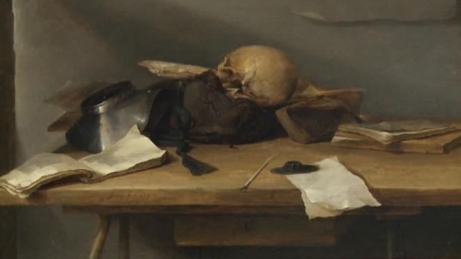 Jan Davidsz de Heem / Zátiší s knihami a lebkou (Vanitas, detail)