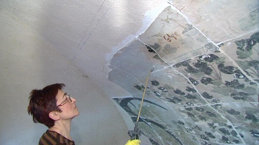 Karine Artouni při restaurování nástěnných maleb na zámku v Nebílovech