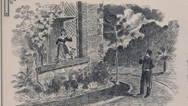 Kresba zobrazující první počátky telefonování