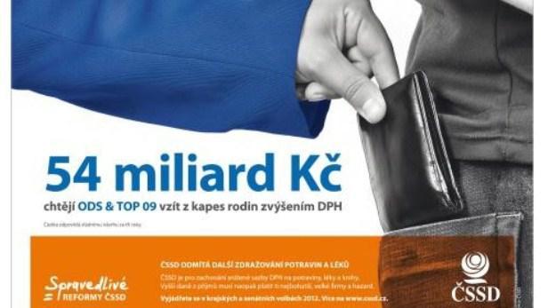 Billboard ČSSD proti zvýšení DPH