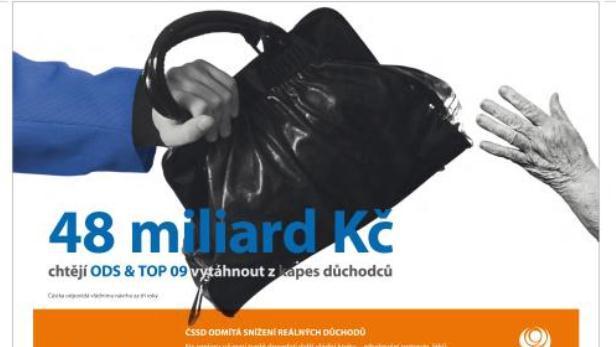 Billboard ČSSD proti snížení reálných důchodů