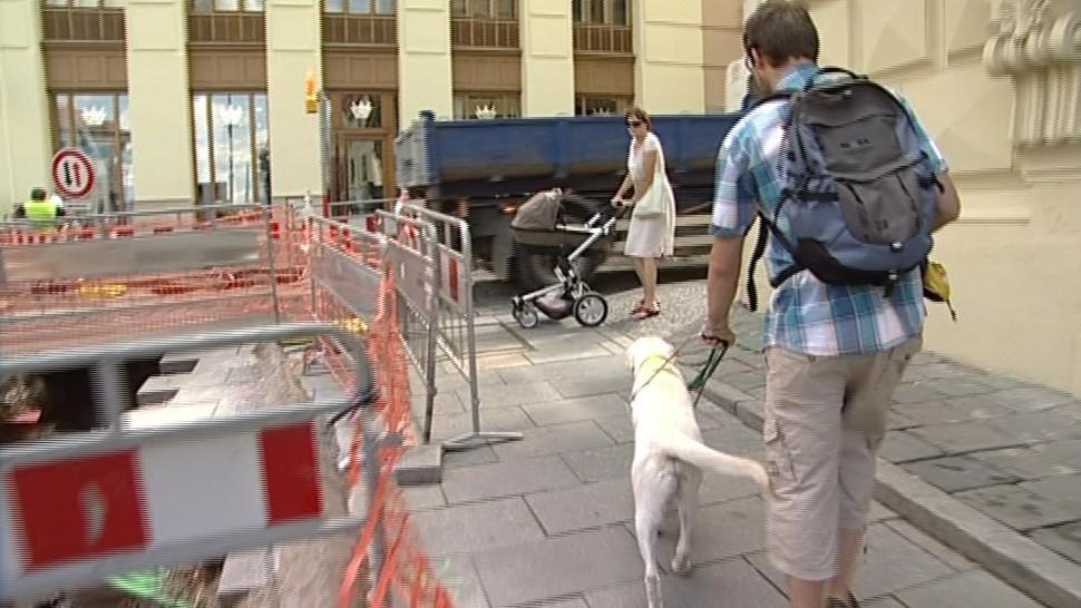 Vodicí pes vede nevidomého na základě jeho povelů