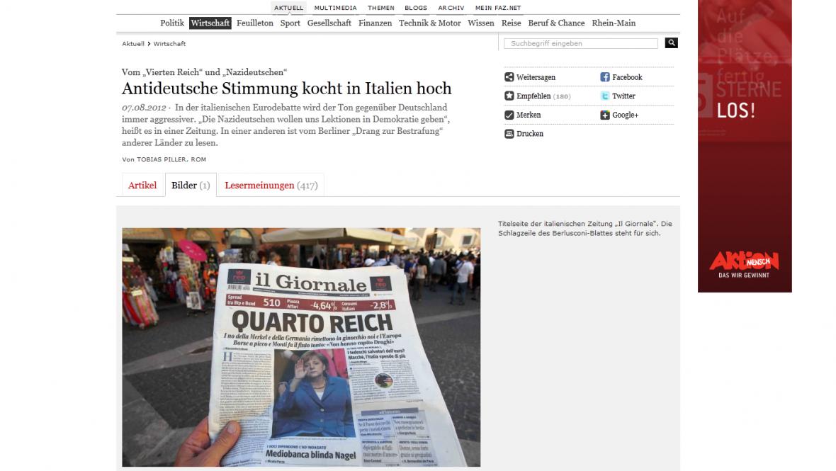 Titulní strana listu il Giornale