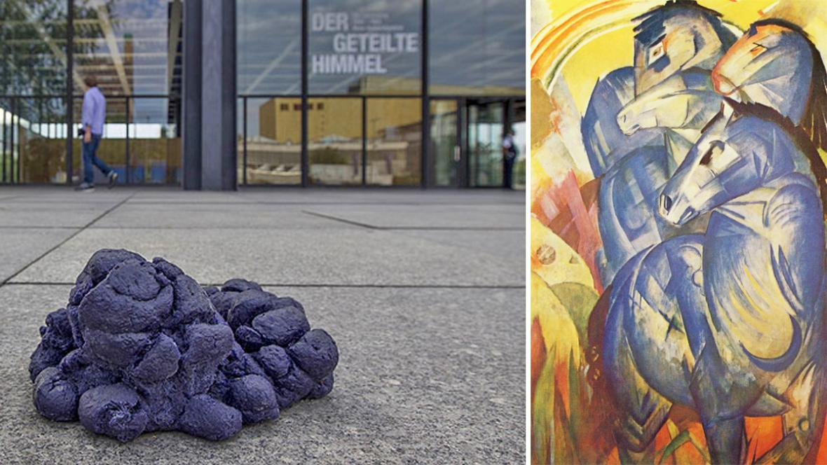 Berlínská umělecká instalace a obraz Franze Marca