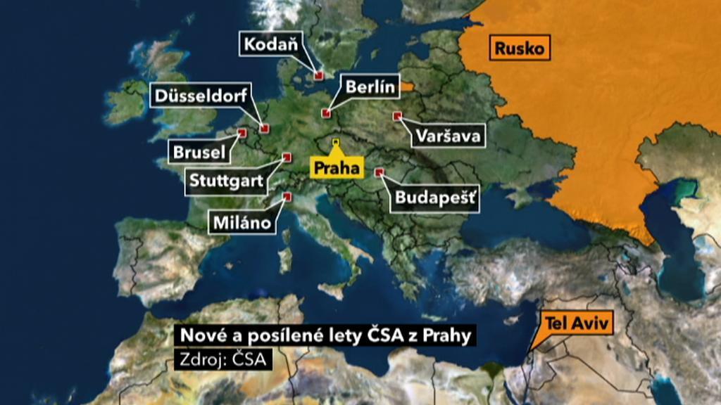 Nové a posílené lety ČSA z Prahy
