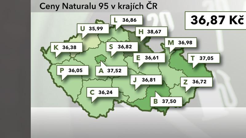 Ceny Naturalu 95 v ČR k 29. červenci 2012