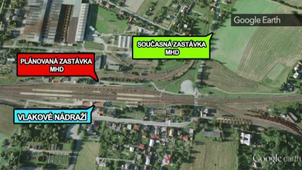 Situační mapa nádraží ve Studénce