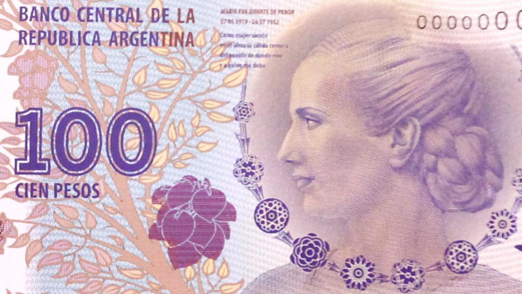 Argentinská bankovka s portrétem Evity