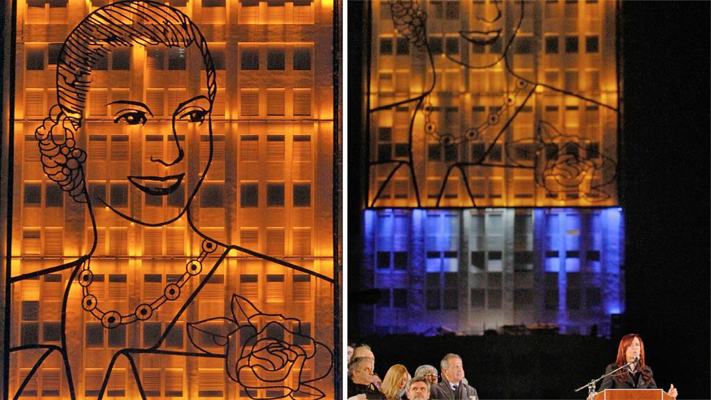 V Argentině odhalili obří portrét Evity Perónové