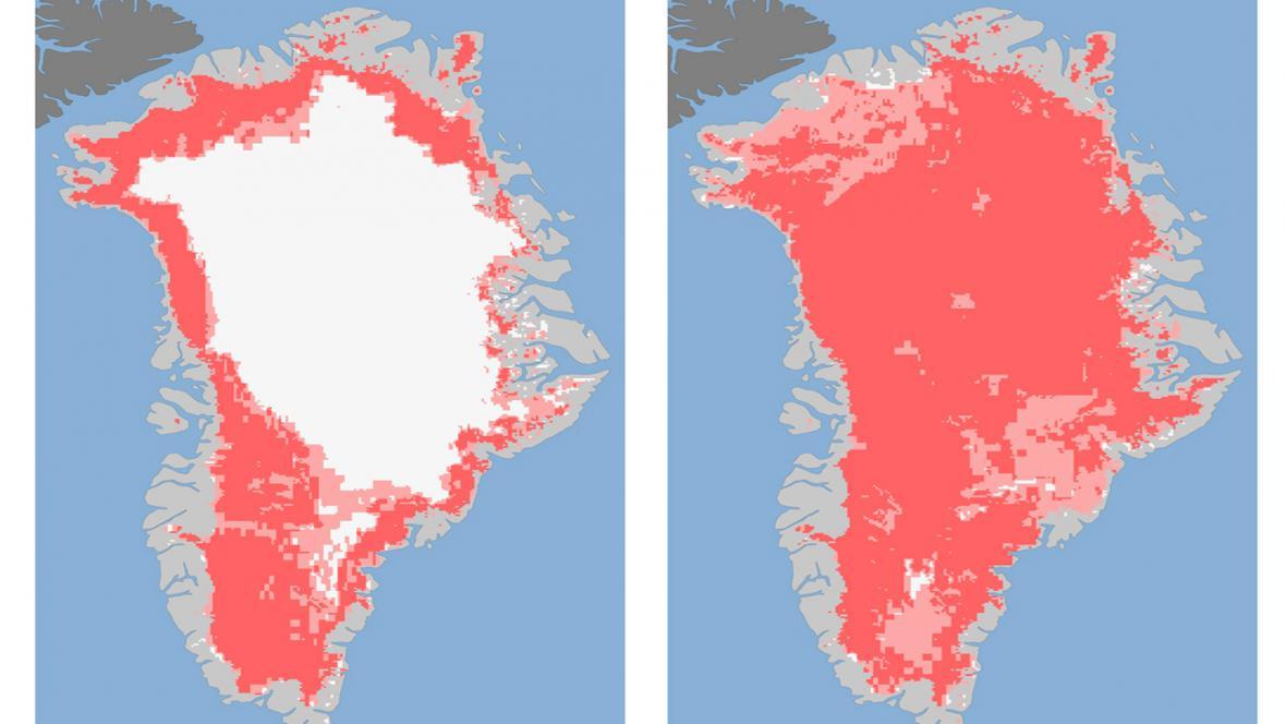 Tající ledovec v Grónsku