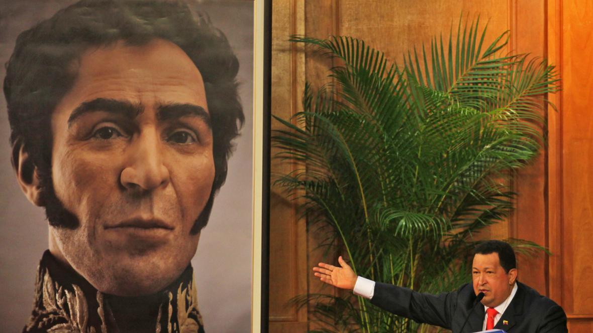 Hugo Chávez představil portrét Bolívara