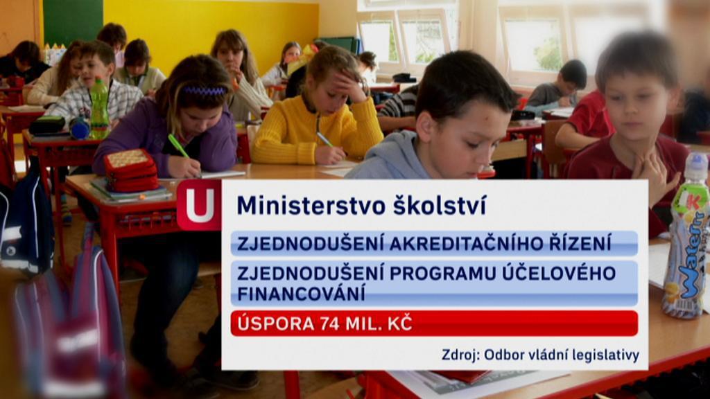 Úspory ministerstva školství