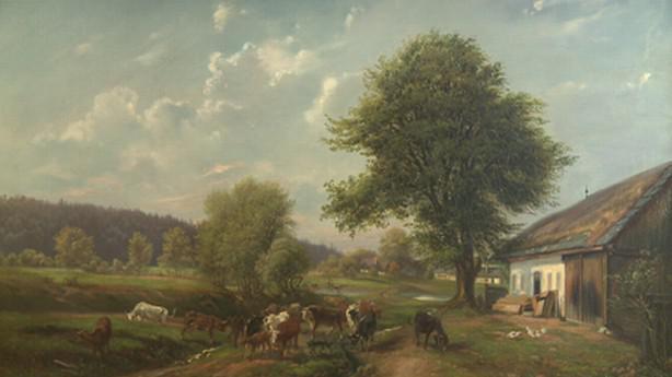 Pohled u Havlíčkova Brodu s chalupou truhláře Hanolda
