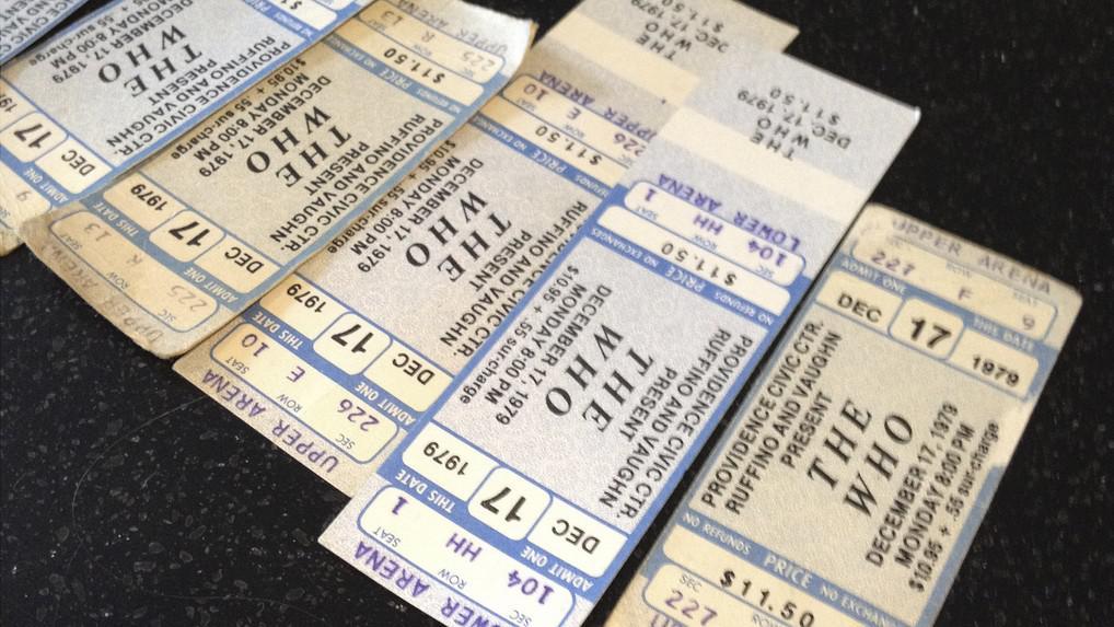 Lístky na koncert The Who z roku 1979