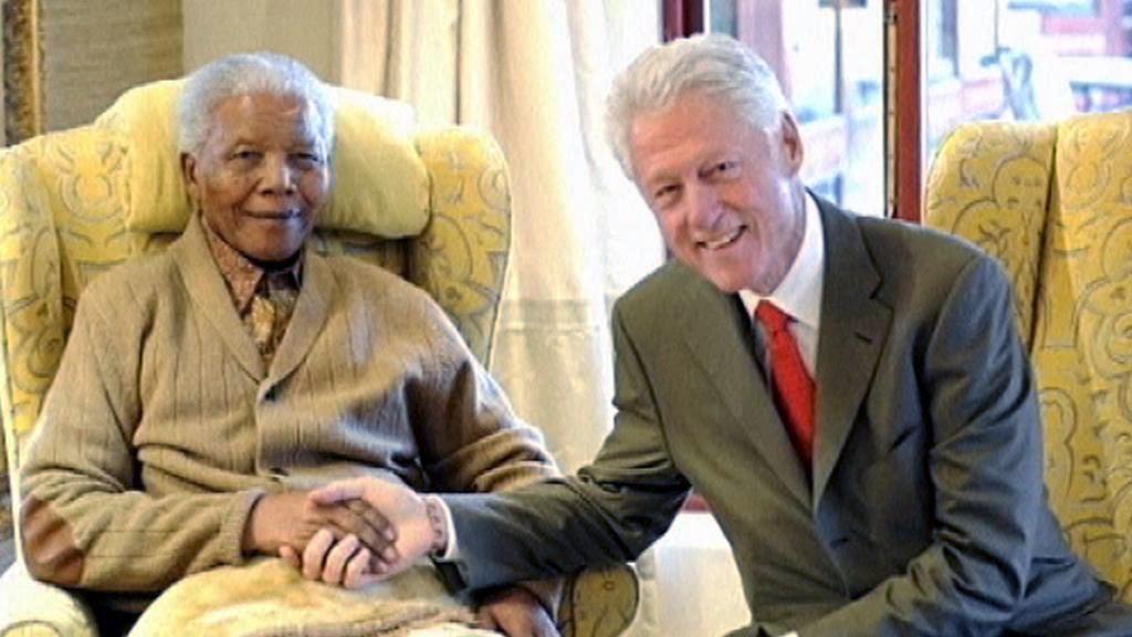Nelson Mandela a Bill Clinton