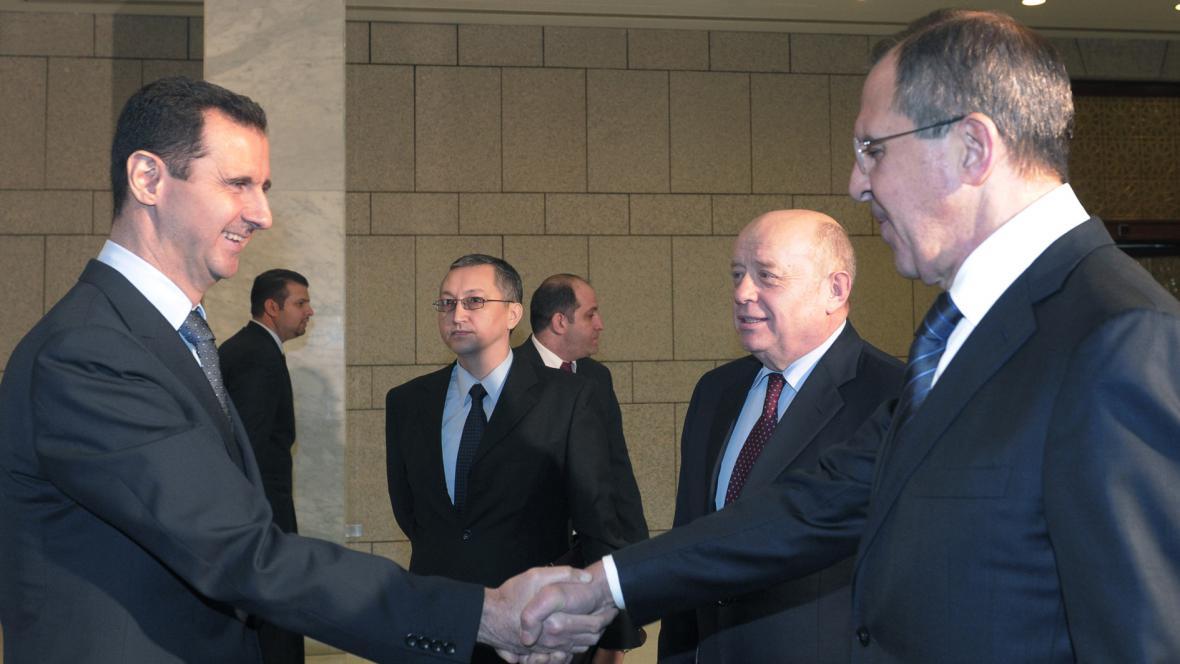 Bašár Asad, Michail Fradkov a Sergej Lavrov