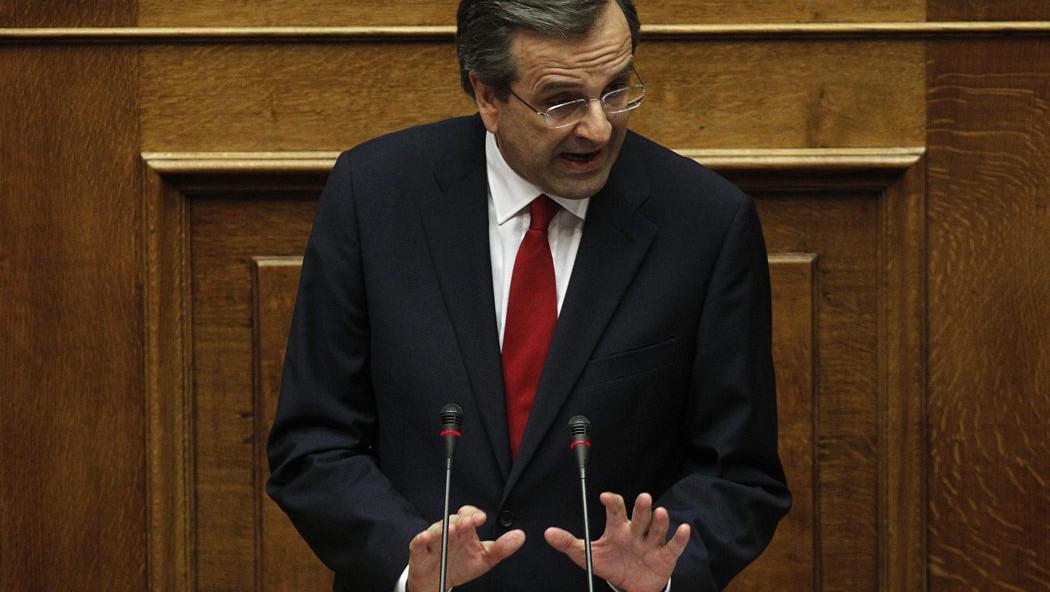 Řecký premiér Antonis Samaras během proslovu před hlasováním o důvěře
